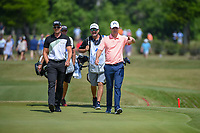 Henrik Stenson (SWE) and Justin Rose (GBR) approach the green on 17 during Round 2 of the Zurich Classic of New Orl, TPC Louisiana, Avondale, Louisiana, USA. 4/27/2018.<br /> Picture: Golffile | Ken Murray<br /> <br /> <br /> All photo usage must carry mandatory copyright credit (&copy; Golffile | Ken Murray)