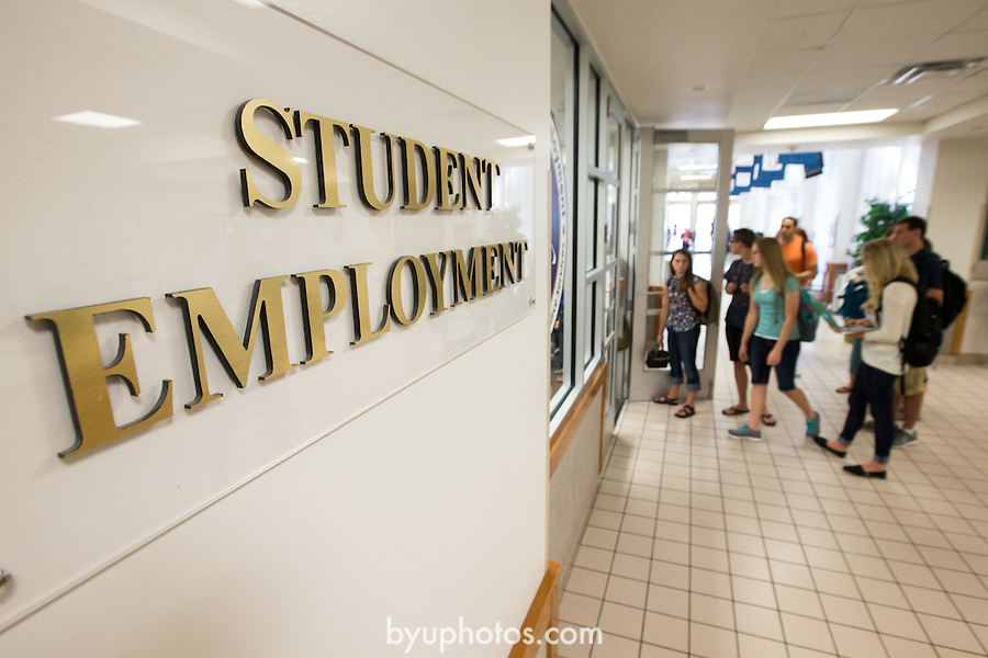 1309-01 0342<br /> <br /> 1309-01 First Day of Class<br /> <br /> Student Employment Center in the Wilkinson Center WSC, students in line<br /> <br /> September 3, 2013<br /> <br /> Photo Illustration by Jaren Wilkey/BYU<br /> <br /> &copy; BYU PHOTO 2013<br /> All Rights Reserved<br /> photo@byu.edu  (801)422-7322