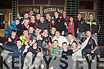 St Mary's under 18 and Senior basketball teams celebrate their National Cup success on their arrival in Castleisland on Saturday night..