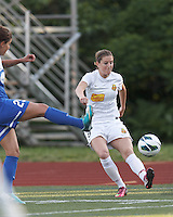 Western New York Flash forward Adriana Martin (8) crosses the ball.  In a National Women's Soccer League Elite (NWSL) match, the Boston Breakers (blue) tied Western New York Flash (white), 2-2, at Dilboy Stadium on June 5, 2013.