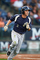 Pensacola Blue Wahoos second baseman Zach Vincej (3) runs to first during a game against the Mississippi Braves on May 28, 2015 at Trustmark Park in Pearl, Mississippi.  Mississippi  defeated Pensacola 4-2.  (Mike Janes/Four Seam Images)