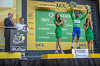 Fernando Gaviria (COL/Quick Step Floors) wins the sprint of the first stage and takes the Yellow Jersey, Green Jersey and White Jersey.  Here on podium to receive his green jersey flanked on podium with Eddy Merckx and Prince Albert of Monaco. <br /> <br /> Stage 1: Noirmoutier-en-l'&Icirc;le &gt; Fontenay-le-Comte (189km)<br /> <br /> Le Grand D&eacute;part 2018<br /> 105th Tour de France 2018<br /> &copy;kramon