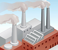 Air pollution from factory chimneys