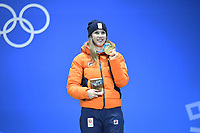 OLYMPIC GAMES: PYEONGCHANG: 23-02-2018, Medals Plaza, Victories Ceremony, Podium 1000m Short Track Speed Skating, ©photo Martin de Jong
