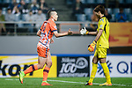 Jeju United Forward Marcelo Toscano (L) high five with Gamba Osaka Goalkeeper Higashiguchi Masaaki (R) during the AFC Champions League 2017 Group H match Between Jeju United FC (KOR) vs Gamba Osaka (JPN) at the Jeju World Cup Stadium on 09 May 2017 in Jeju, South Korea. Photo by Marcio Rodrigo Machado / Power Sport Images