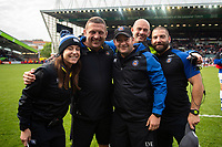 Sophie Bennett, Toby Booth, Darren Edwards, Allan Ryan and Jameson Mola of Bath Rugby pose for a photo after the match. Gallagher Premiership match, between Leicester Tigers and Bath Rugby on May 18, 2019 at Welford Road in Leicester, England. Photo by: Patrick Khachfe / Onside Images