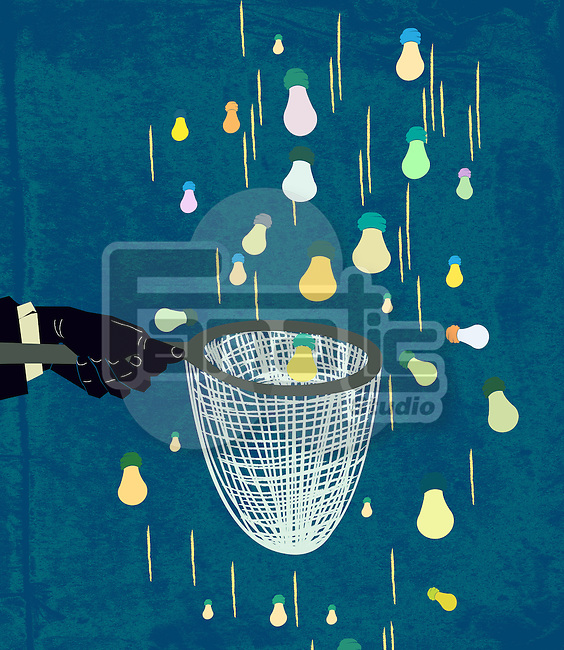 Illustration of person catching light bulb