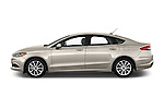 Car Driver side profile view of a 2017 Ford Fusion SE-FWD 4 Door Sedan Side View