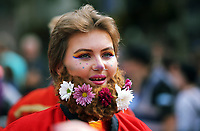 Pictured: Flowers in a beard of a person.<br />