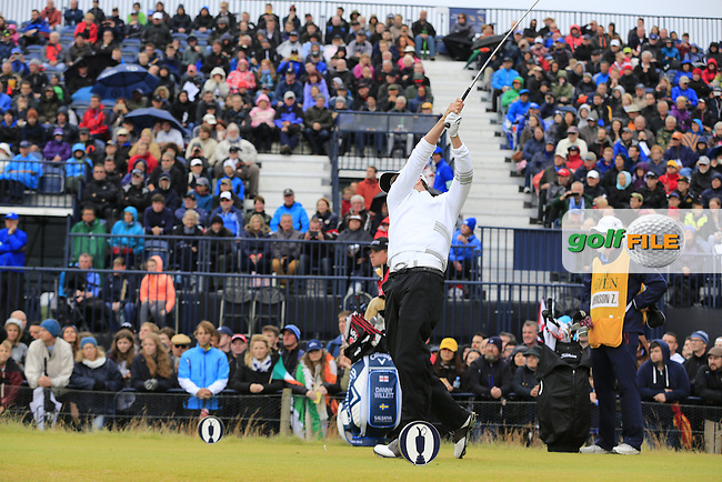 Zach JOHNSON (USA) tees off the 17th tee during Monday's Final Round of the 144th Open Championship, St Andrews Old Course, St Andrews, Fife, Scotland. 20/07/2015.<br /> Picture Eoin Clarke, www.golffile.ie