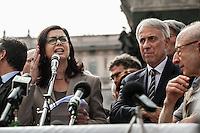 Milano 25-04-2013: Laura Boldrini parla in in Piazza Duomo per ricordare il 25 aprile del 1945 giorno della liberazione dalla dittatura nazi-fascista