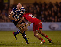 Bath Rugby's Matt Garvey is tackled by Sale Sharks' Denny Solomona<br /> <br /> Photographer Bob Bradford/CameraSport<br /> <br /> Gallagher Premiership Round 9 - Bath Rugby v Sale Sharks - Sunday 2nd December 2018 - The Recreation Ground - Bath<br /> <br /> World Copyright © 2018 CameraSport. All rights reserved. 43 Linden Ave. Countesthorpe. Leicester. England. LE8 5PG - Tel: +44 (0) 116 277 4147 - admin@camerasport.com - www.camerasport.com