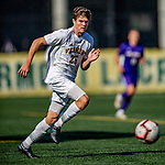 5 October 2019: University of Vermont Catamount Defender Noah Egan, a Freshman from Irvine, CA, in action against the University at Albany Great Danes on Virtue Field in Burlington, Vermont. The Catamounts fell to the visiting Danes 3-1 in America East, Division 1 play. Mandatory Credit: Ed Wolfstein Photo *** RAW (NEF) Image File Available ***