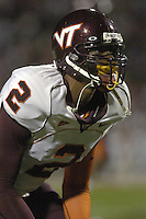 20 October 2005: Jimmy Williams (2)..The Virginia Tech Hokies defeated the Maryland Terrapins 28-9 at Byrd Stadium in College Park, MD.