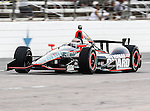 JR Hildebrand (4) driver of the National Guard Panther Racing car in action during the IZOD Indycar Firestone 550 race at Texas Motor Speedway in Fort Worth,Texas. Justin Wilson (18) driver of the Sonny's BBQ car wins the Firestone 550 race...