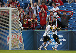 HOOVER, AL - DECEMBER 07, 2012:  Fans of the University of Maryland celebrate the first goal with Jereme Raley (12) and the goa lscorer Christiano Francois (3) during an NCAA 2012 Men's College Cup semi-final match, at Regions Park, in Hoover , AL, on Friday, December 07, 2012. The game ended in a 4-4 tie, Georgetown won on penalty kicks after overtime.