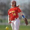 Claire O'Brien #14, Sacred Heart Academy pitcher, delivers to the plate during the top of the second inning of a CHSAA varsity softball game against Kellenberg at Greis Park in Lynbrook on Tuesday, April 11, 2017. She struck out nine batters and allowed no runs. Sacred Heart won by run rule 9-0 after four and a half innings of play.