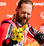 PyeongChang 11/3/2018 - Kurt Oatway skis to the gold in the men's sitting super-G at the Jeongseon Alpine Centre during the 2018 Winter Paralympic Games in Pyeongchang, Korea. Photo: Dave Holland/Canadian Paralympic Committee