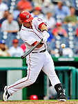 8 September 2011: Washington Nationals catcher Wilson Ramos in action against the Los Angeles Dodgers at Nationals Park in Washington, DC. The Dodgers defeated the Nationals 7-4 to take the third game of their 4-game series. Mandatory Credit: Ed Wolfstein Photo