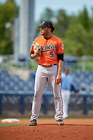 Baltimore Orioles pitcher Jayvien Sandridge (57) looks in for the sign during a Florida Instructional League game against the Tampa Bay Rays on October 1, 2018 at the Charlotte Sports Park in Port Charlotte, Florida.  (Mike Janes/Four Seam Images)