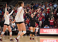 Stanford, CA - November 1, 2019: Kate Formico, Audriana Fitzmorris, Morgan Hentz at Maples Pavilion. The No. 5 Stanford Cardinal swept the Oregon State Beavers 3-0.