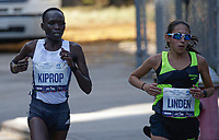 NEW YORK NY - NOVEMBER 03: Nancy Kiprop (L) of  competes during the New York City Marathon on New York City on November 03, 2019.  (Photo by Kena Betancur/VIEWpress)