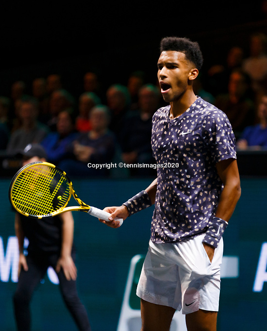 Rotterdam, The Netherlands, 9 Februari 2020, ABNAMRO World Tennis Tournament, Ahoy, Felix Auger-Aliassime (CAN).<br /> Photo: www.tennisimages.com
