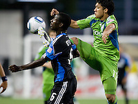 Fredy Montero of Sounders fights for the ball against Ike Opara of Earthquakes during the game at Buck Shaw Stadium in Santa Clara, California on July 31st, 2010.   Seattle Sounders defeated San Jose Earthquakes, 1-0.