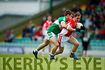 Padraig Óg Ó Sé West Kerry in action against Denis Sheahan Legion in the Quarter Final of the Kerry Senior County Championship at Austin Stack Park on Sunday.