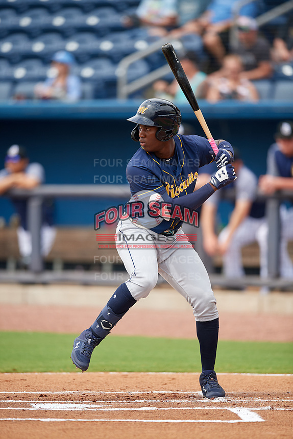 Montgomery Biscuits Jesus Sanchez (4) at bat during Southern League game against the Biloxi Shuckers on May 8, 2019 at MGM Park in Biloxi, Mississippi.  Biloxi defeated Montgomery 4-2.  (Mike Janes/Four Seam Images)
