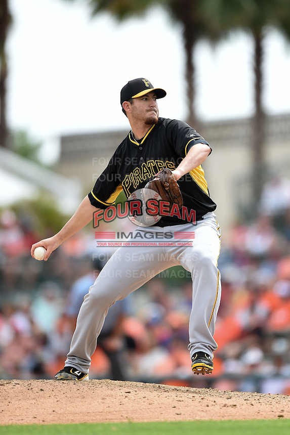Pitcher Bryan Morris (29) of the Pittsburgh Pirates during a spring training game against the Baltimore Orioles on March 23, 2014 at McKechnie Field in Bradenton, Florida.  Baltimore and Pittsburgh played to a 7-7 tie.  (Mike Janes/Four Seam Images)