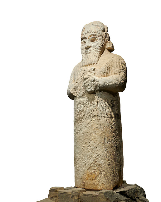 Hittite monumental statue probably of Tarhunda, the Storm God, standing on a cart being pulled by two bulls. Adana Archaeology Museum, Turkey. Against a white background