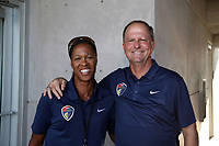 Cary, North Carolina  - Saturday August 05, 2017: Courage broadcasters Thori Bryan and Anson Dorrance prior to a regular season National Women's Soccer League (NWSL) match between the North Carolina Courage and the Seattle Reign FC at Sahlen's Stadium at WakeMed Soccer Park. The Courage won the game 1-0.