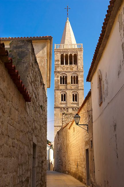 Late Roanesque Bell Tower  of the Cathedral of St Mary the Great (Crkva svete Marije Velike). Rab Island, Craotia