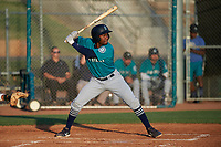 AZL Mariners Osiris Castillo (38) at bat during an Arizona League game against the AZL Giants Orange on July 18, 2019 at the Giants Baseball Complex in Scottsdale, Arizona. The AZL Giants Orange defeated the AZL Mariners 7-4. (Zachary Lucy/Four Seam Images)