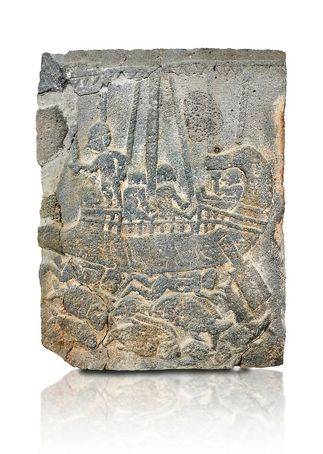 Pictures & images of the North Gate Hittite sculpture stele depicting a ship with fish. 8the century BC.  Karatepe Aslantas Open-Air Museum (Karatepe-Aslantaş Açık Hava Müzesi), Osmaniye Province, Turkey. Against white background