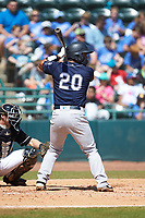 Eduardo Navas (20) of the Charleston RiverDogs at bat against the Hickory Crawdads at L.P. Frans Stadium on May 13, 2019 in Hickory, North Carolina. The Crawdads defeated the RiverDogs 7-5. (Brian Westerholt/Four Seam Images)