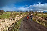 Two walkers in Uplawmoor, East Renfrewshire