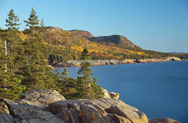 Fall view of the shoreline at Acadia National Park, Maine, USA