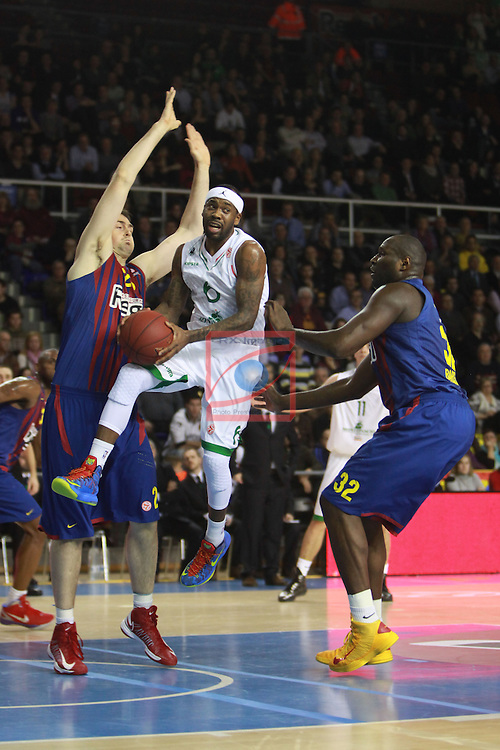 Euroleague Basketball 2012/13 Top 16 Round 6.<br /> FC Barcelona Regal vs Montepaschi Siena: 85-66.<br /> Lorbek, Brown &amp; Jawai.