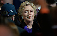 Democratic Presidential candidate Hillary Clinton greets campaign staff after delivering her concession speech Wednesday, from the New Yorker Hotel's Grand Ballroom in New York, NY, on November 9, 2016. <br /> Credit: Olivier Douliery / Pool via CNP /MediaPunch