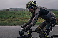 a mudded Robert Power (AUS/Michelton-Scott) hanging at the back of the peloton mid-race would finish strong in the end (6th)<br /> <br /> 12th Strade Bianche 2018<br /> Siena &gt; Siena: 184km (ITALY)