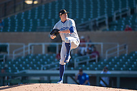 Surprise Saguaros relief pitcher Zach Jackson (36), of the Toronto Blue Jays organization, delivers a pitch during an Arizona Fall League game against the Salt River Rafters at Salt River Fields at Talking Stick on November 5, 2018 in Scottsdale, Arizona. Salt River defeated Surprise 4-3 . (Zachary Lucy/Four Seam Images)