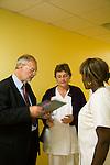 Dr Jean-Pierre Droz, Oncology unit, Centre Leon Berard, Lyon, France. The doctor with Liliane Dinga, femme de service, and with Sylvie Reynier, infirmiare principal, staff nurse.