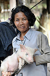 Bun Tem raises pigs in the Cambodian village of Solang Kandal.