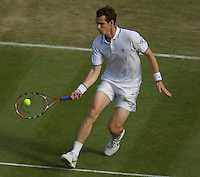 Andy Murray (GBR) (3) against Ernests Gulbis (LAT) in the second round of the gentlemen's singles. Murray beat Gulbis 6-2 7-5 6-3 .......Tennis - Wimbledon - Day 4 - Thur 25th June 2009 - All England Lawn Tennis Club  - Wimbledon - London - United Kingdom..Frey Images, Barry House, 20-22 Worple Road, London, SW19 4DH.Tel - +44 20 8947 0100.Cell - +44 7843 383 012