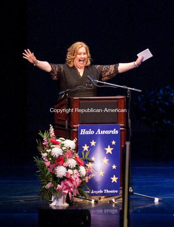WATERBURY, CT-052614JS11--Event host Michelle Gotay, actress and motivational speaker, greets guests during the 11th annual Seven Angels Theatre's Halo Awards Tuesday at the Palace Theater in Waterbury. <br /> Jim Shannon Republican-American
