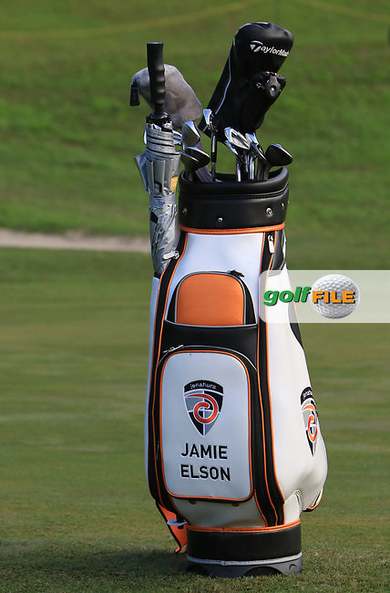 Jamie Elson (ENG) bag on the 7th green during Round 1 of the Maybank Championship at the Saujana Golf and Country Club in Kuala Lumpur on Thursday 1st February 2018.<br /> Picture:  Thos Caffrey / www.golffile.ie<br /> <br /> All photo usage must carry mandatory copyright credit (© Golffile | Thos Caffrey)
