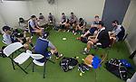 Backs pre-training meeting. Maori All Blacks Train. Suva, Fiji. July 9 2015. Photo: Marc Weakley