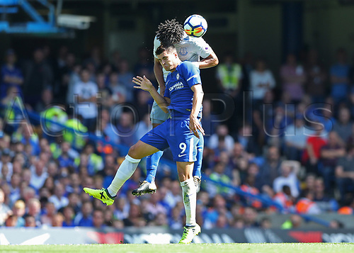 27th August 2017, Stamford Bridge, London, England; EPL Premier League football, Chelsea versus Everton; Ashley Williams of Everton jumps over Alvaro Morata of Chelsea to head the ball